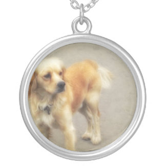 Cute Yellow Dog Round Pendant Necklace