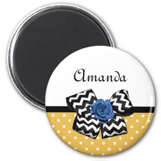 Cute Yellow Dots Blue Rose Chevron Bow With Name 2 Inch Round Magnet