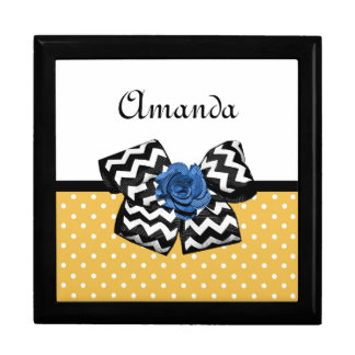 Cute Yellow Dots Blue Rose Chevron Bow With Name Jewelry Box
