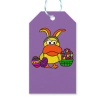 Cute Yellow Duck with Easter Bunny Ears and Basket Gift Tags