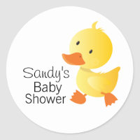 Cute Yellow Duckie Baby Shower Classic Round Sticker