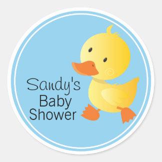 Cute Yellow Duckie Baby Shower Classic Round Sticker