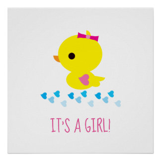 Cute Yellow Duckie - Baby Shower - It's a Girl! Poster