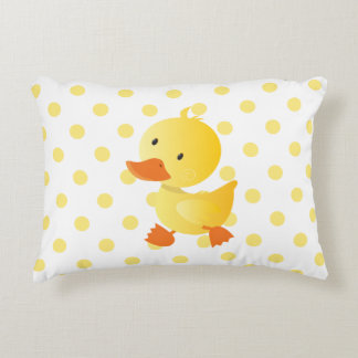 Cute Yellow Duckie Polka Dots Decorative Pillow