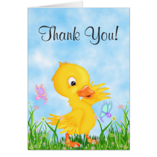 Cute Yellow Duckling and Butterflies Thank You Card