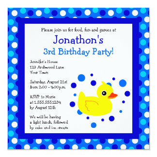 Cute Yellow Ducky Blue Polka Dots Birthday Invite