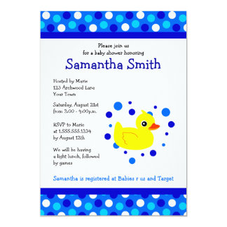 Cute Yellow Ducky on Blue Dots Baby Shower Invite