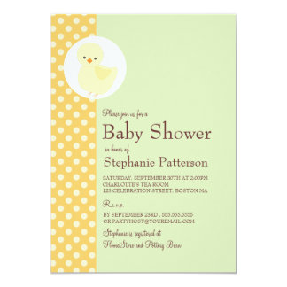 Cute Yellow Ducky Polkadot Baby Shower Tea Party 5x7 Paper Invitation Card
