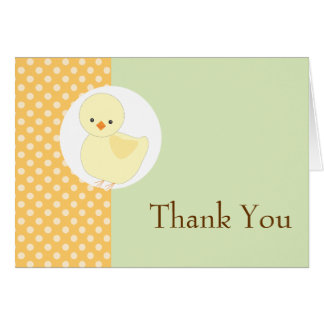 Cute Yellow Ducky Polkadot Thank You Note Card