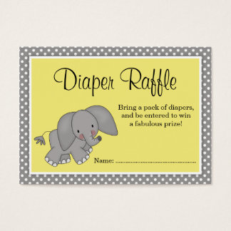Cute Yellow Elephant Baby Shower Diaper Raffle Business Card
