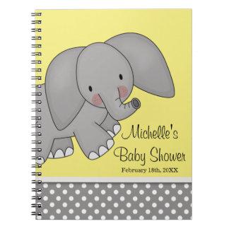 Cute Yellow Elephant Baby Shower Guest Book Spiral Notebook