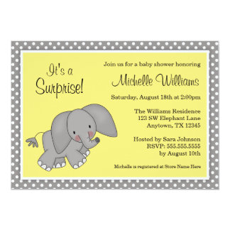 Cute Yellow Elephant Gender Neutral Baby Shower Card