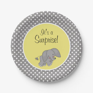 cute yellow elephant gender neutral baby shower paper plate