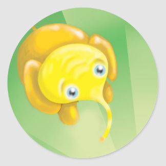 cute yellow elephant parade round stickers