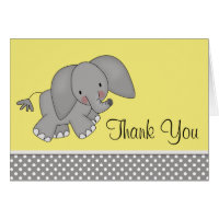 Cute Yellow Elephant Thank You Cards
