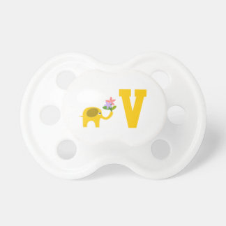 e526d67cd ... Personalized Cute Yellow Elephant With Flowers And Monogram Pacifier