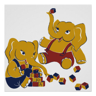 Cute yellow elephants playing square poster