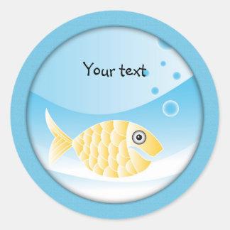 Cute Yellow Fish Classic Round Sticker