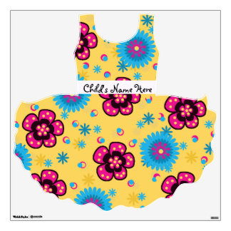 Cute Yellow Floral Tutu Wall Decal