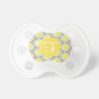 Cute Yellow Flowers & Gray Girly Pacifier