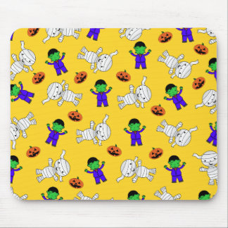Cute yellow Frankenstein mummy pumpkins Mouse Pad