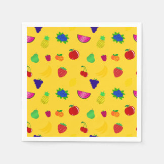Cute yellow fruits pattern standard cocktail napkin