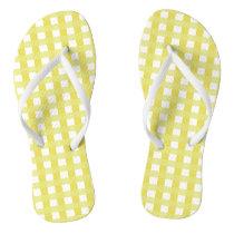 Cute Yellow Gingham Print Flip Flops