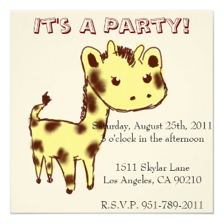 Cute Yellow Giraffe Birthday Party Invitation
