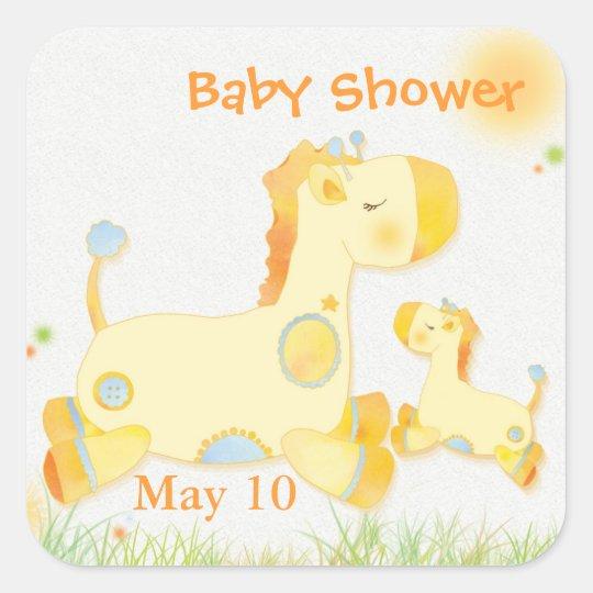 Cute Yellow Giraffes Baby Shower Square Sticker
