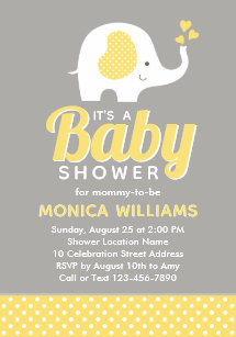 Cute Yellow Gray Elephant Baby Shower Invitation