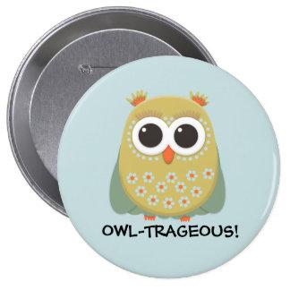 Cute Yellow Green Orange Blue Owl Owl-Trageous Pinback Button