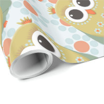 Cute Yellow Green Owl on Orange Blue Wrapping Paper