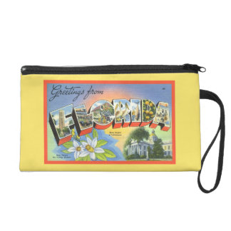 Cute Yellow Greetings Florida Retro Font Tropical Wristlet Purse
