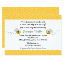 Cute Yellow & Grey Bumble Bee Baby Shower Invitation