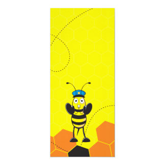 Cute Yellow Happy Police Bee Blowing Whistle Card