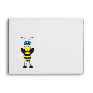 Cute Yellow Happy Police Bee Blowing Whistle Envelopes