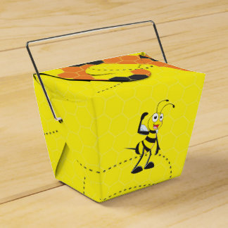 Cute Yellow Happy Police Bee Blowing Whistle Favor Boxes