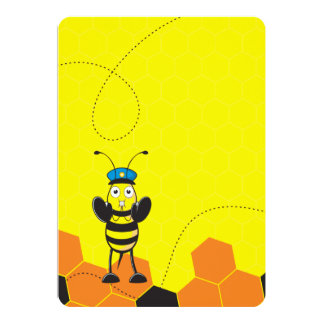 "Cute Yellow Happy Police Bee Blowing Whistle 5"" X 7"" Invitation Card"