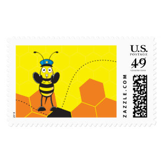 Cute Yellow Happy Police Bee Blowing Whistle Stamp