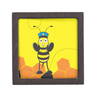 Cute Yellow Happy Police Bee Blowing Whistle Premium Jewelry Boxes
