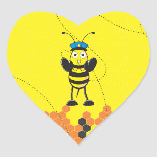 Cute Yellow Happy Police Bee Blowing Whistle Heart Sticker
