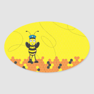 Cute Yellow Happy Police Bee Blowing Whistle Oval Stickers