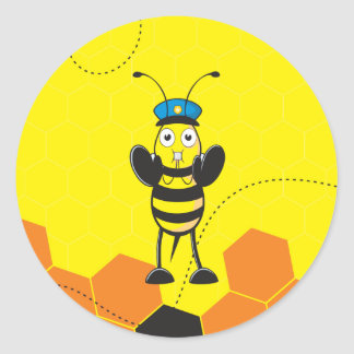 Cute Yellow Happy Police Bee Blowing Whistle Round Sticker