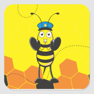 Cute Yellow Happy Police Bee Blowing Whistle Square Sticker