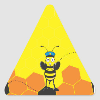 Cute Yellow Happy Police Bee Blowing Whistle Triangle Stickers