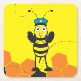Cute Yellow Happy Police Bee Blowing Whistle Square Paper Coaster