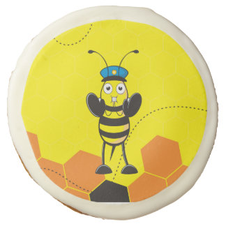 Cute Yellow Happy Police Bee Blowing Whistle Sugar Cookie