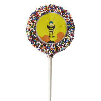 Cute Yellow Happy Police Bee Blowing Whistle Chocolate Dipped Oreo Pop