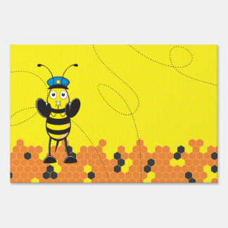 Cute Yellow Happy Police Bee Blowing Whistle Yard Signs