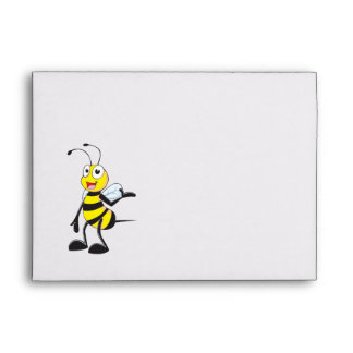 Cute Yellow Happy Smiling Bee Presenting Showing Envelope